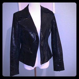 Real leather snake print moto jacket